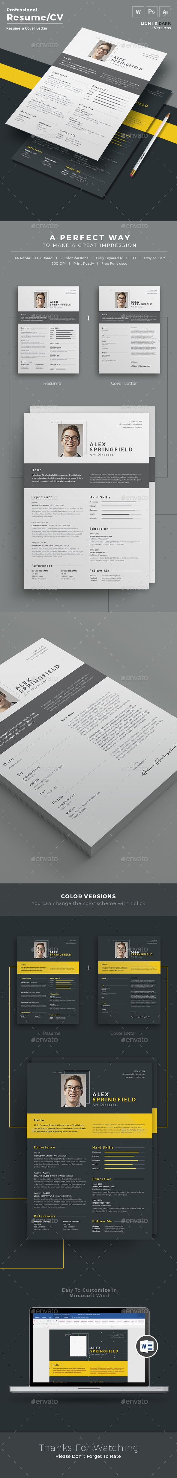 resume design cv template and cover letters resume resume word cv template super modern and professional look elegant page designs are easy to use and customize so you can quickly