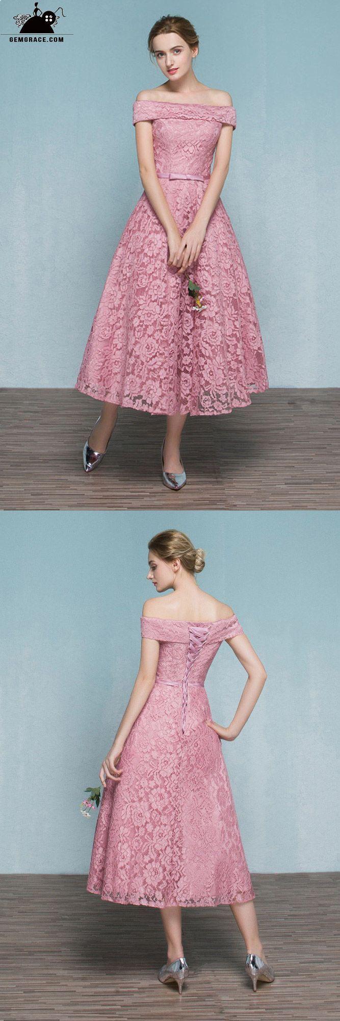 Pink lace tea length off shoulder wedding party dress reception