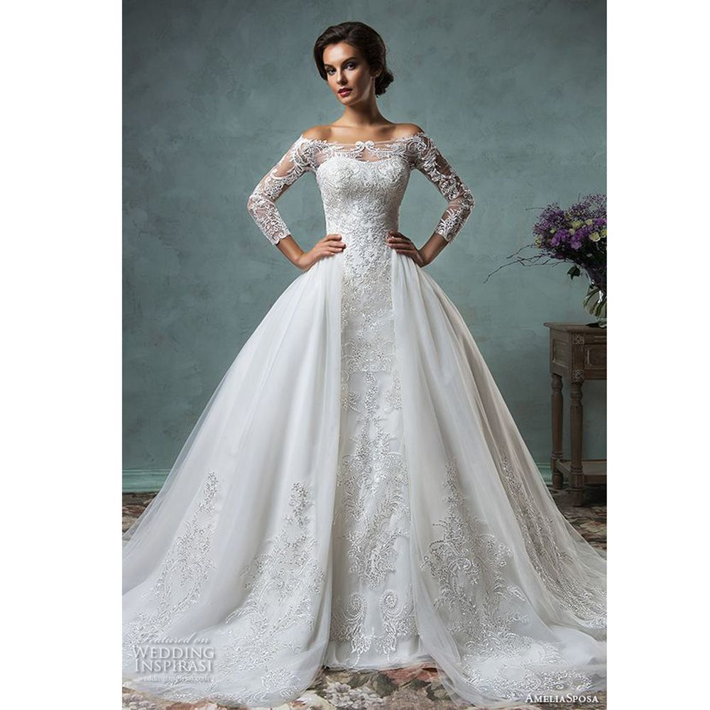 dubai vintage lace wedding dress with detachable m train