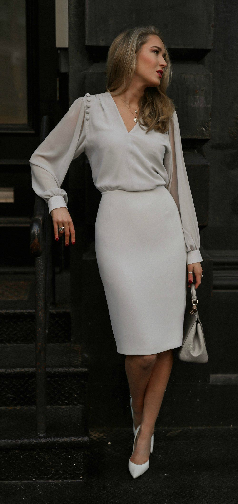 Day 12 Job Interview Pale Grey Button Detail V Neck Midi Dress With Long Sheer Sleeves Grey Suede Pointed Toe Pumps G Classy Dress Fashion Trendy Dresses [ 2120 x 1000 Pixel ]
