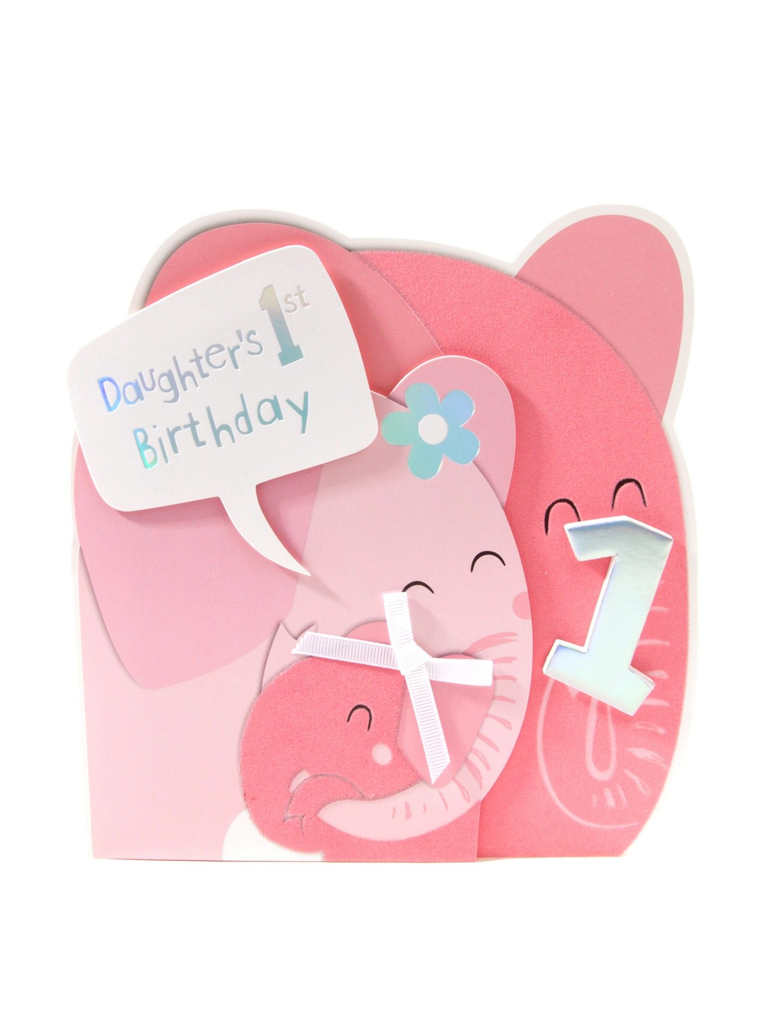 Pink Elephant 1st Birthday Card For Daughter Cards