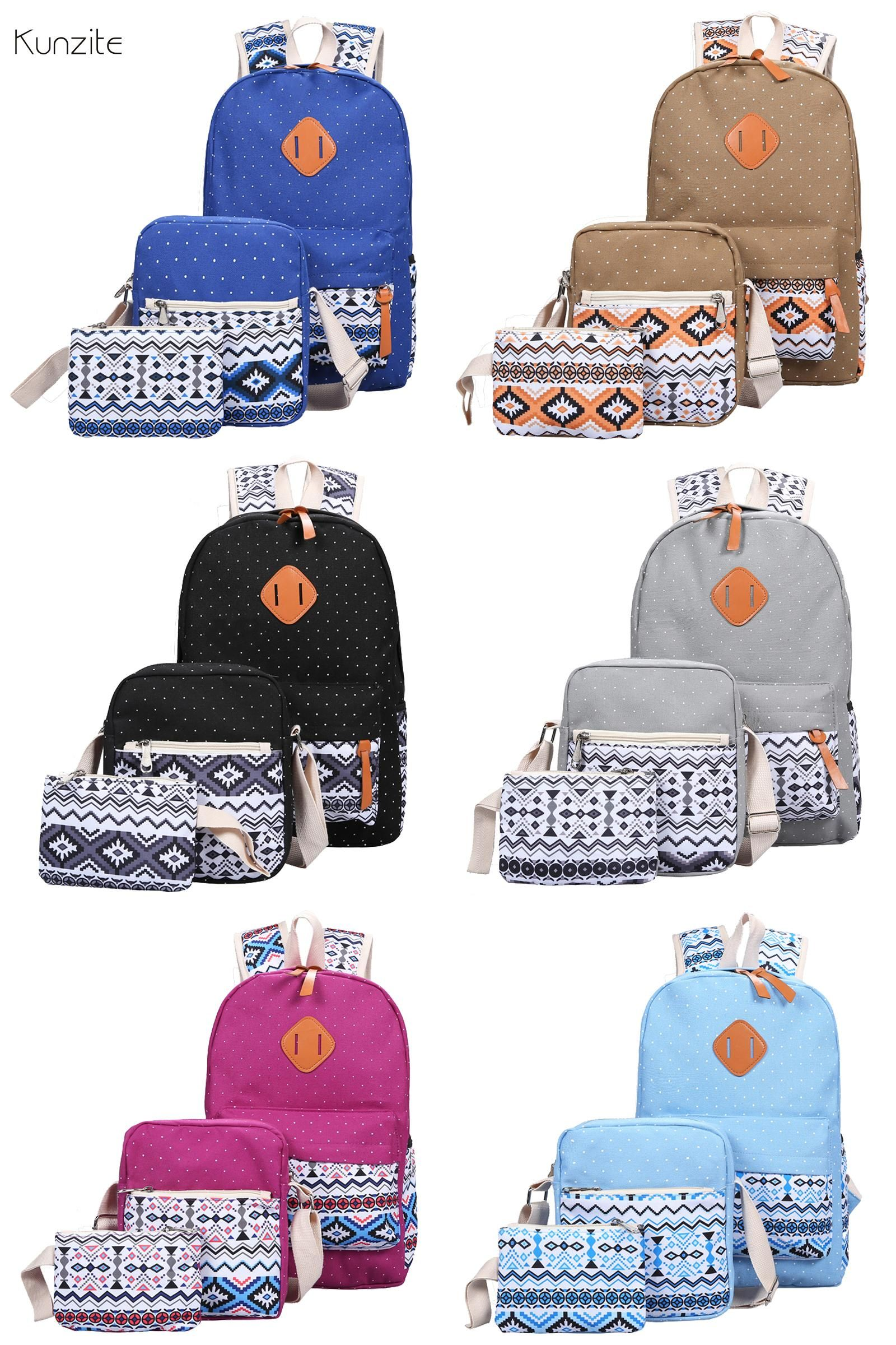 visit to 3 pc set stylish canvas printing backpack women