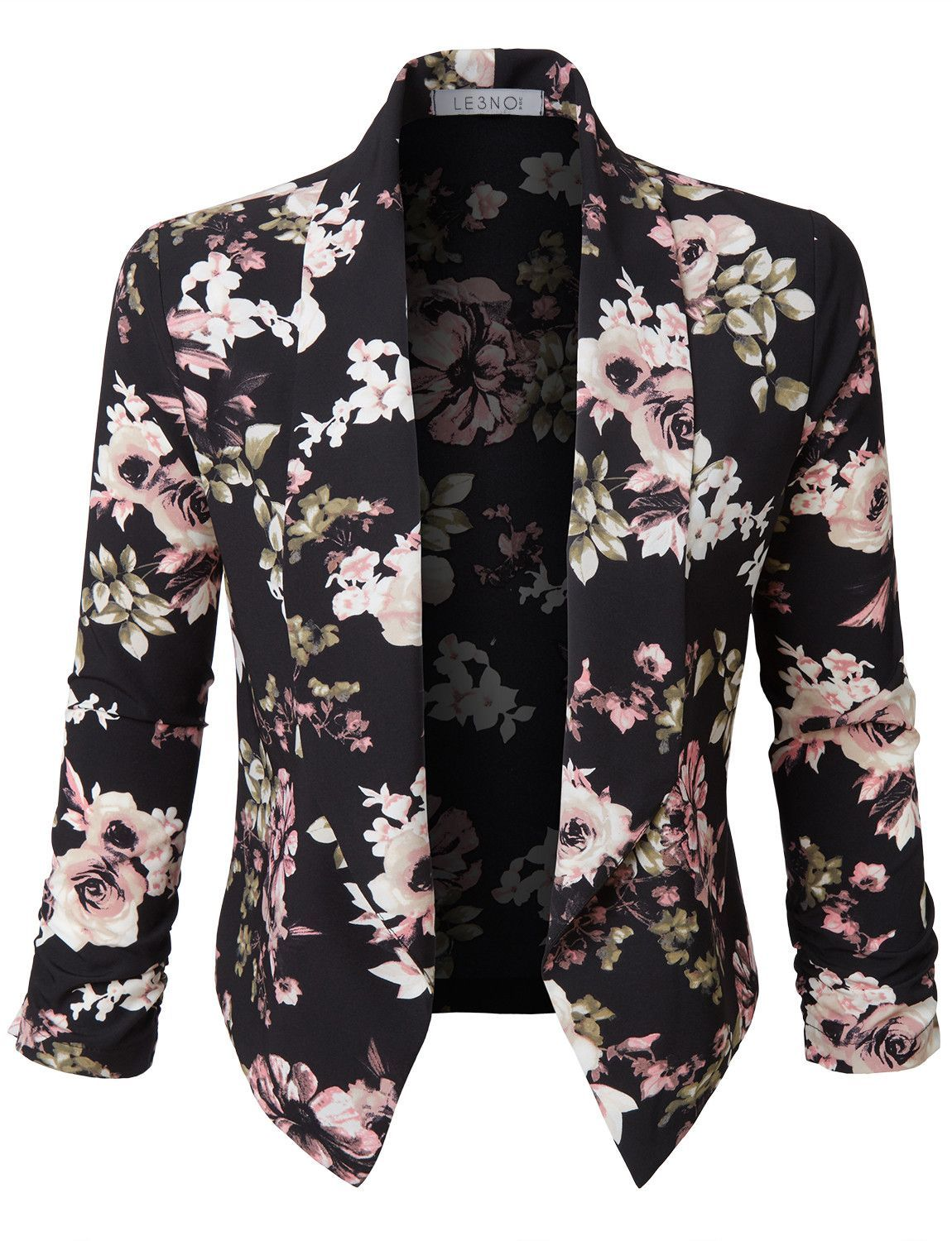LE3NO Womens Ultra Lightweight Floral 3 4 Sleeve Open Front Cardigan Shrug  Blazer a5b9fef03