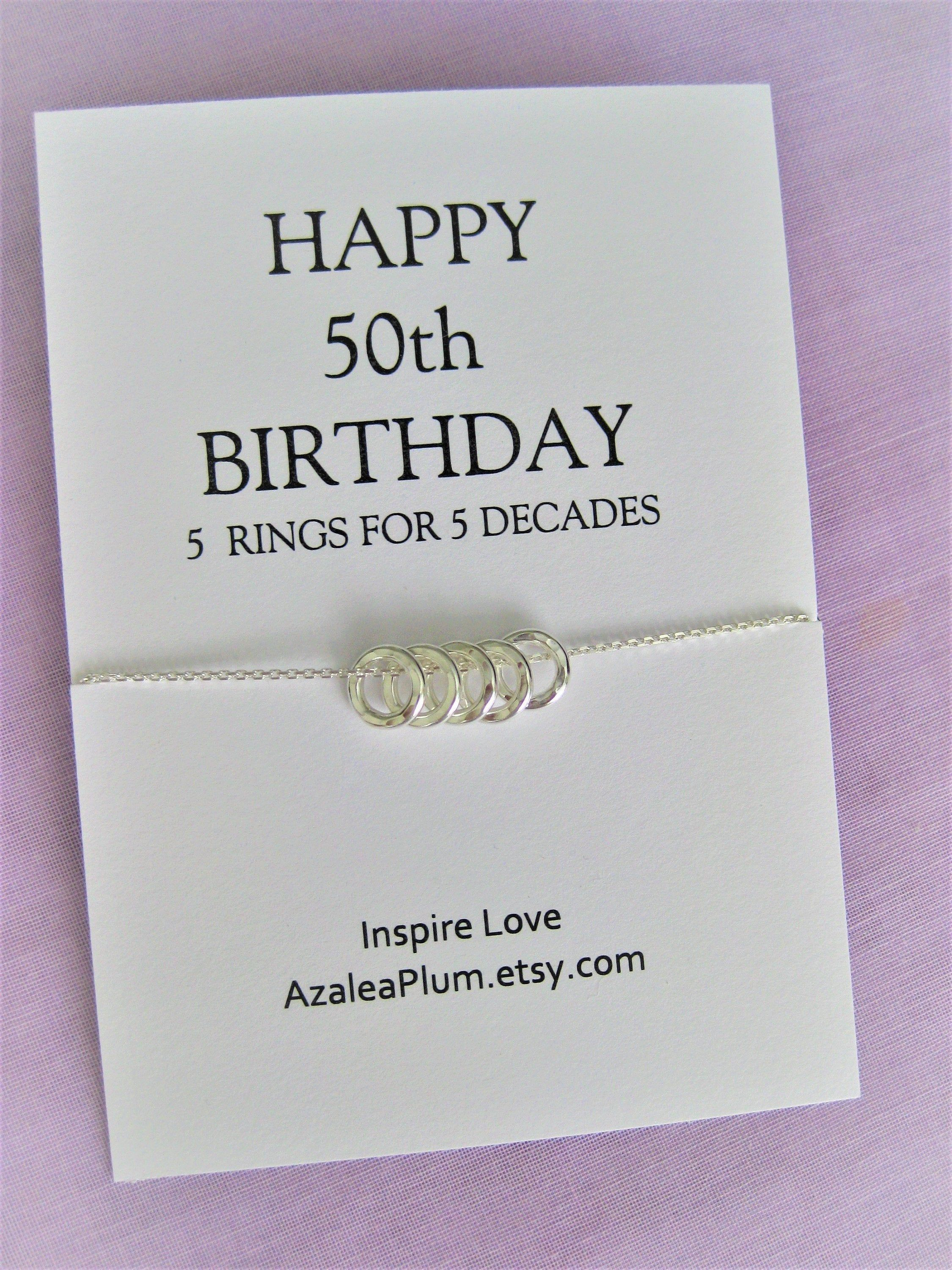 50th Birthday Gift for Women, Solid Sterling Silver Necklace, Sister Gift, 50th Birthday, Friend Gift, Gift for Her, 50th Birthday Necklace - #moms50thbirthday