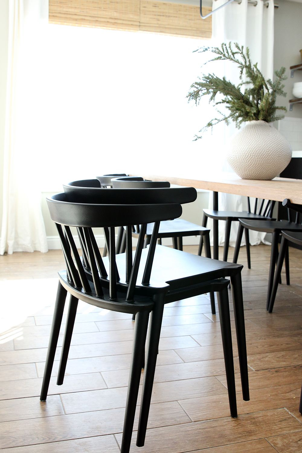 New Low Back Modern Spindle Chairs For The Dining Room Chris Loves Julia