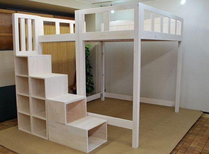 Full Size Loft Bed With Stairs Plans In 2020 Queen Loft Beds