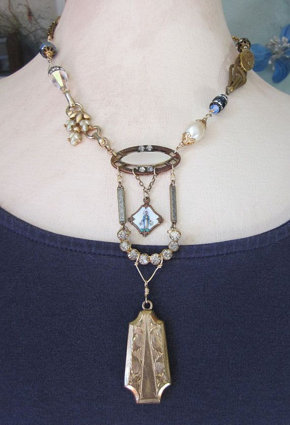 Wearable Art Piece - One of a Kind Necklace with Antique locket, religious medal and more from jryendesigns.etsy.com