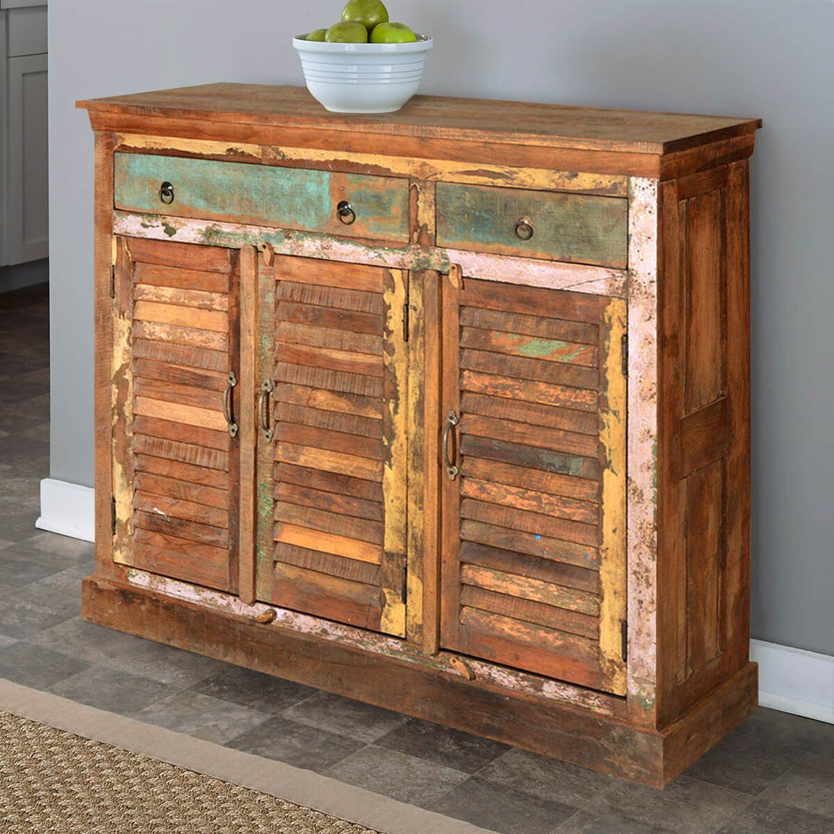 Madison Rustic Reclaimed Wood 3 Drawer 3 Door Tall Sideboard