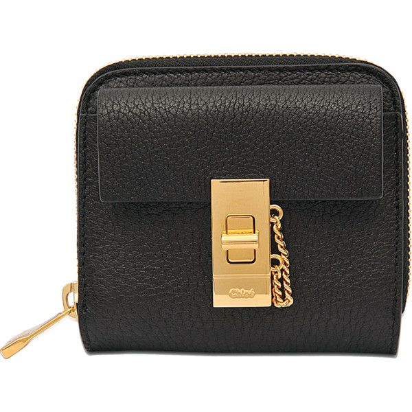 Chloé Drew Square zipped wallet ($580) ❤ liked on Polyvore featuring bags, wallets, black, zip bags, chloe bags, zipper bag, zipper wallet and black wallet