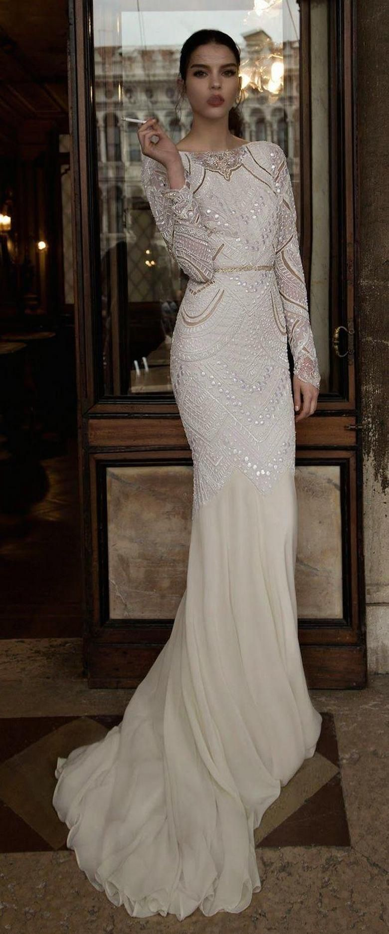 40 high low long sleeve modern wedding dresses ideas with