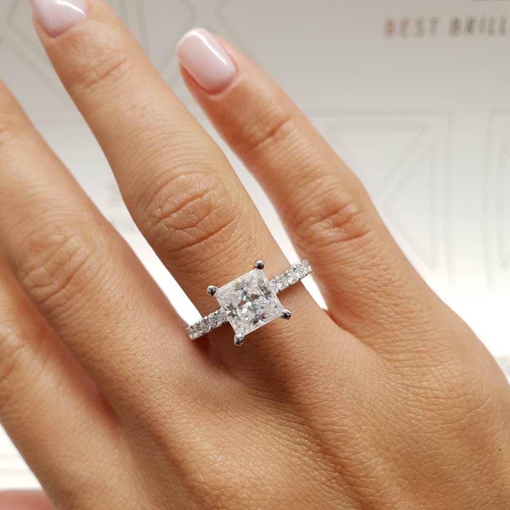 The Blair Engagement Ring 2 Carat Princess D Vs1 14k White Gold