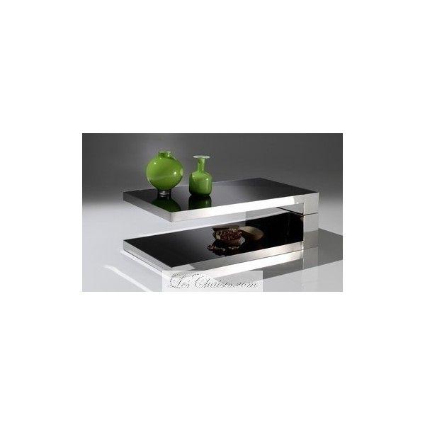 table basse inox design rennes noir rectangulaire   déco