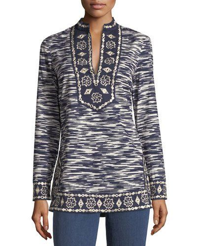 Striped Embroidery Coat Frühling/Sommer Tory Burch 1boQKh