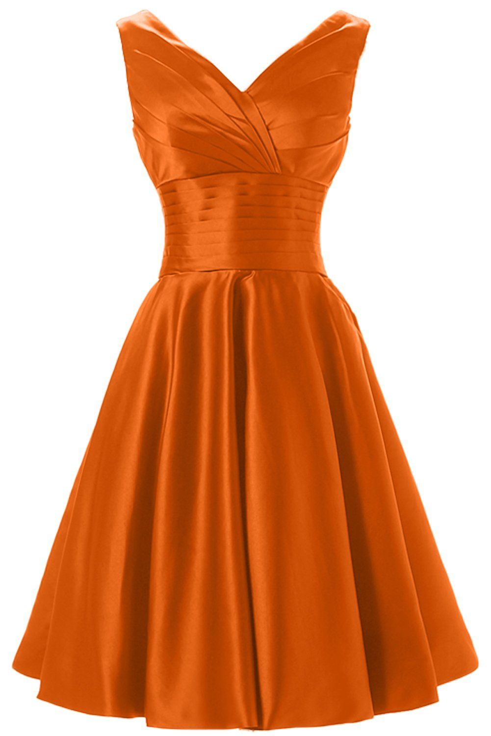 a25958542809 QY Bride Knee Length Formal Holiday Party Dresses V Neck Bridesmaid Dress  18 Orange >>> Continue to the product at the image link.