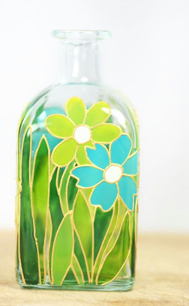 Hand Painted Glass Bottle Spring Summer Flower Botanical Design Turquoise Yellow Green Kitchen Decor Home Decor Decorative Glass Art Hand Painted Bottles Glass Bottle Crafts Painted Glass Bottles