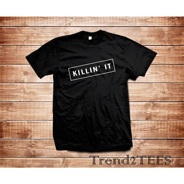 Killin It Tumblr T-Shirt Shirt Killin It Ig Tumbr Tees ($14) ❤ liked on Polyvore featuring tops, t-shirts, dark olive, women's clothing, print t shirts, black tee, ribbed tee, olive green shirt and olive t shirt