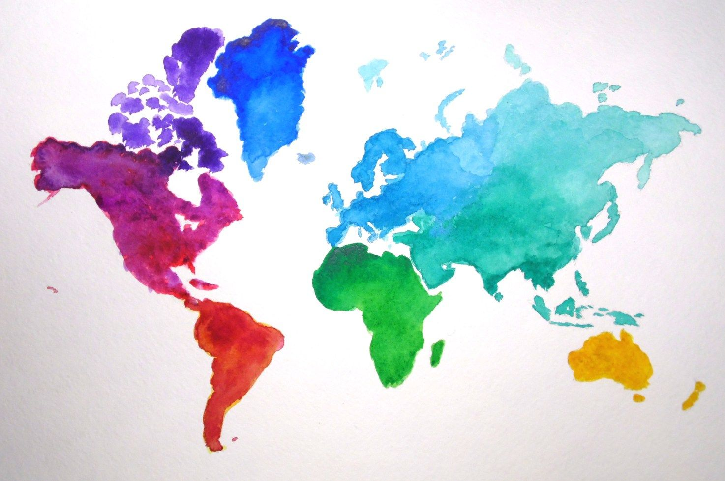 Fast And Easy Watercolor Map Watercolor Map World Map Wall Art