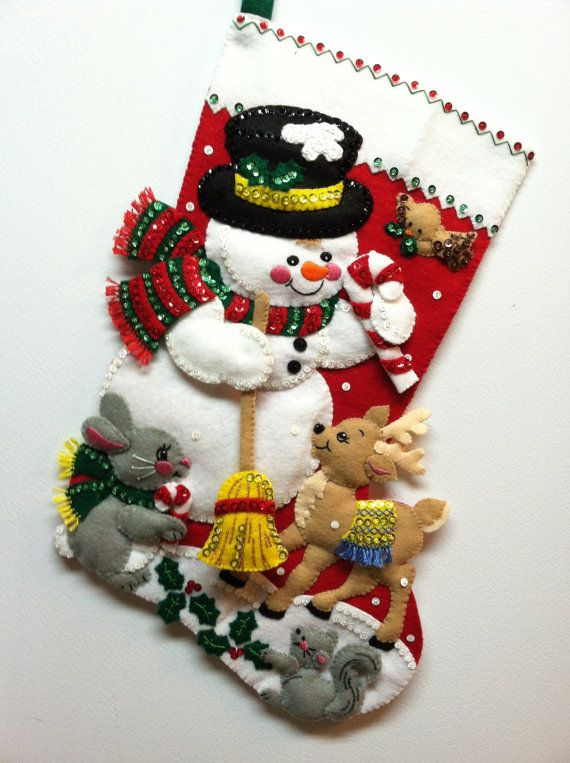 "18"" Completed Bucilla Christmas Stocking Snowman & Friends"