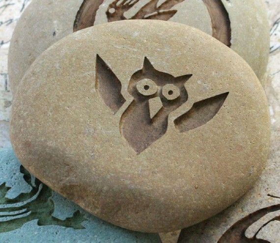 Flying Baby Owl - Engraved on Natural River Rock