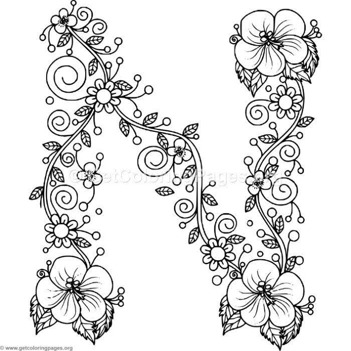 Free to download Floral Alphabet Letter N Coloring Pages #