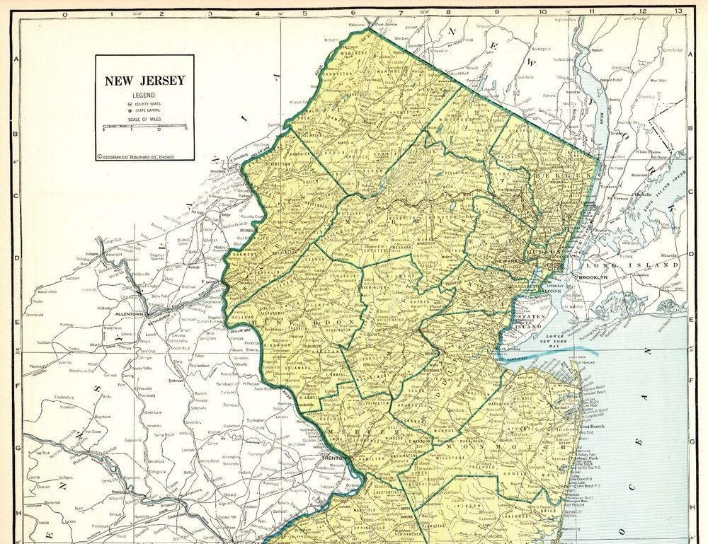 1937 Antique NEW JERSEY State Map RARE Poster Print SIZE Map of New ...