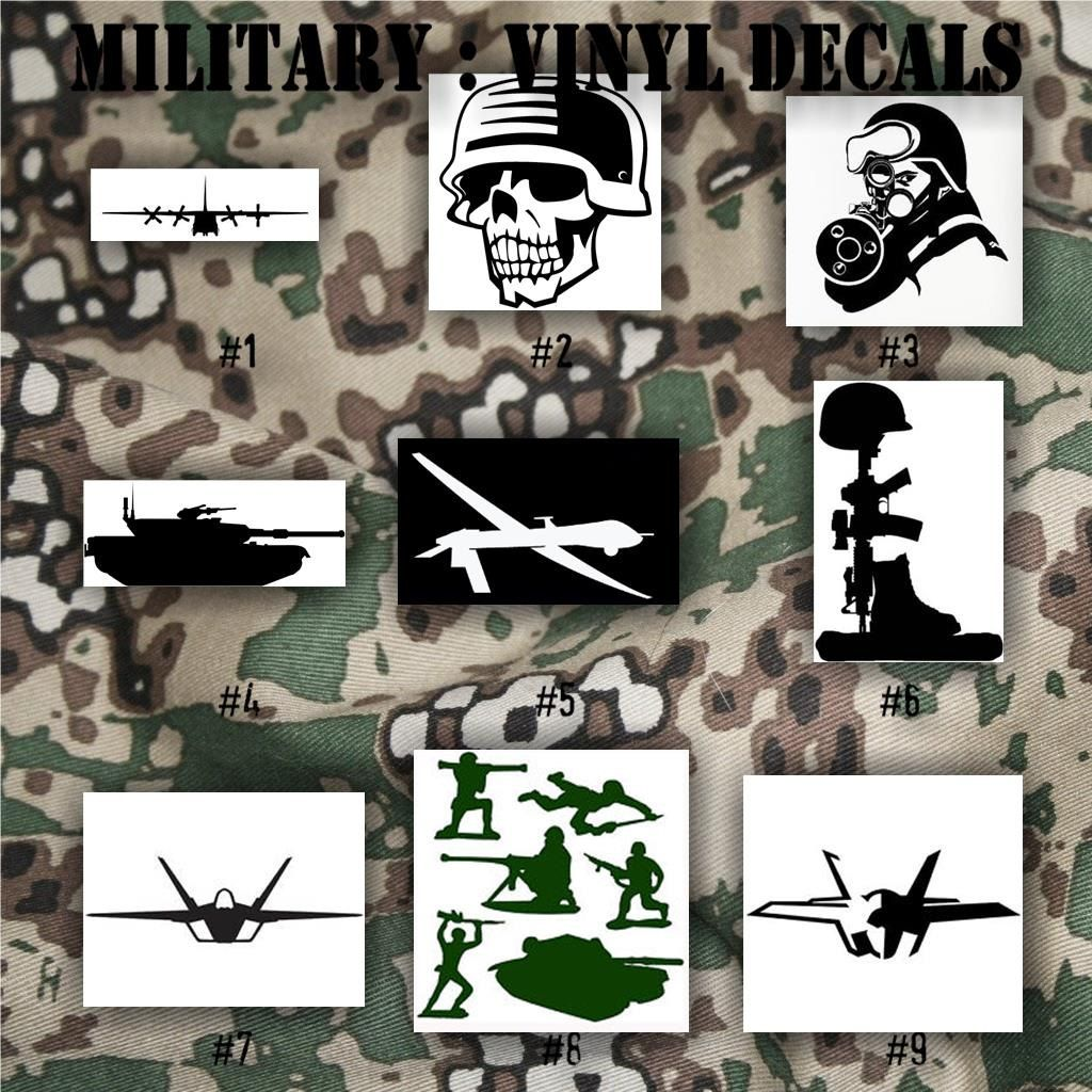 MILITARY vinyl decals 19 Army, Air Force, Navy and
