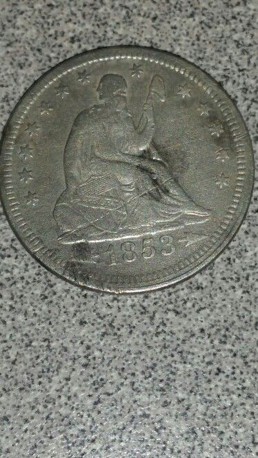 1853 Seated Liberty Quarter found with my Whites MXT in Commerce Texas.