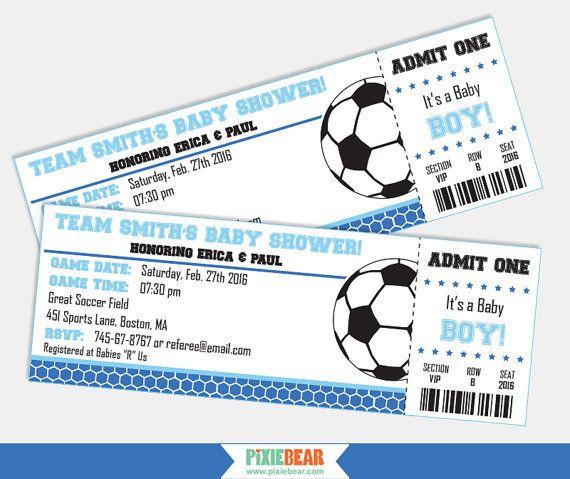 Soccer Baby Shower Invitation - Soccer Baby Shower - Soccer - ticket invitation