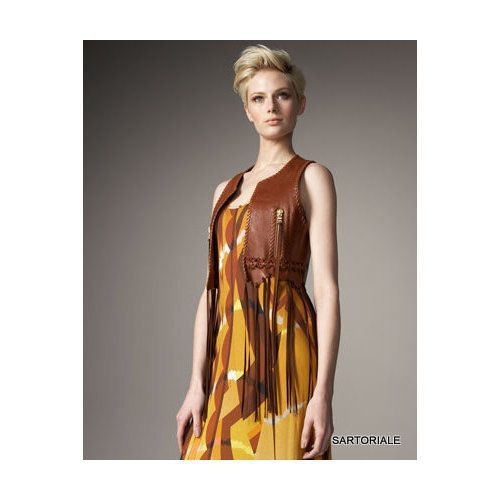 EMILIO PUCCI Brown Fringed Leather Vest IT 42 NEW US 6 / S