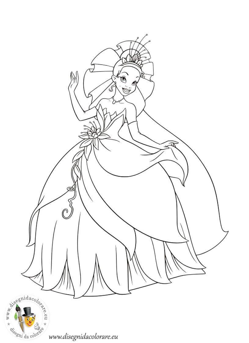 La principessa e il ranocchio da colorare disegni for Cartoni animati da stampare e colorare
