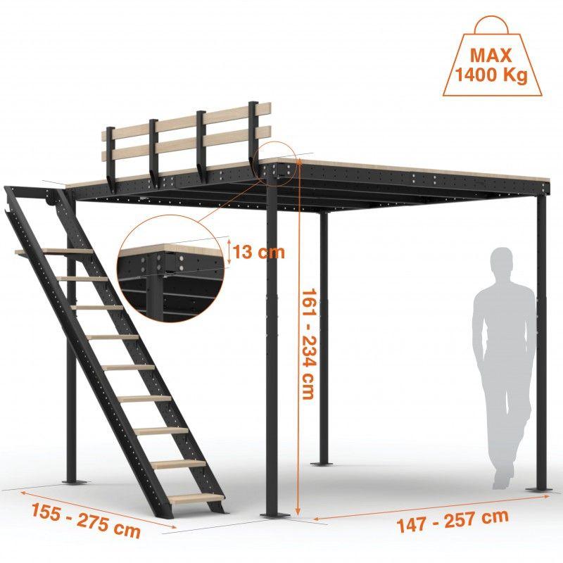 Cama alta TS 8 con escalera lateral | Camas altas, Altillo y Colchones