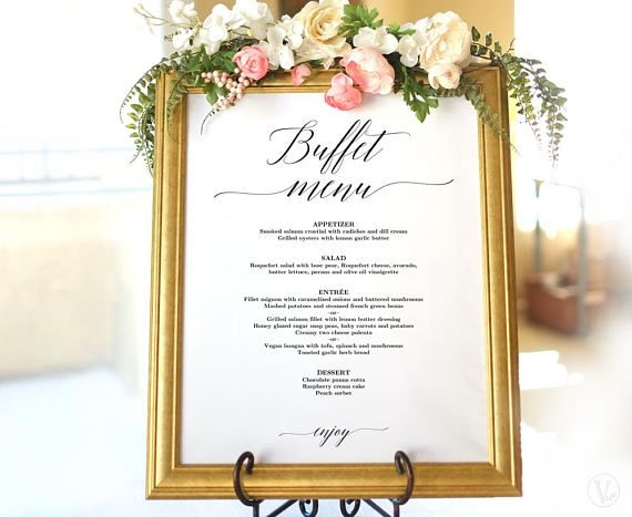 Wedding Buffet Menu Sign, Printable Wedding Menu Template, Editable, VW25, VW26, VW28, VW30, VW34, VW37, VW49, VW50, VW51 #weddingmenutemplate