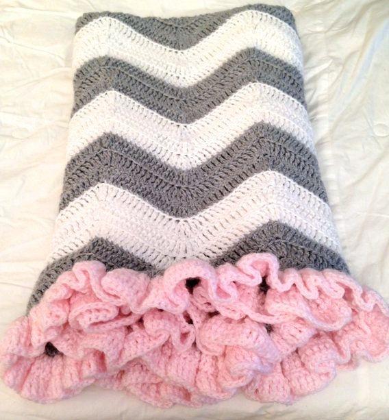 PATTERN Chevron Blanket with Ruffle Crochet Baby Blanket | Lugares ...