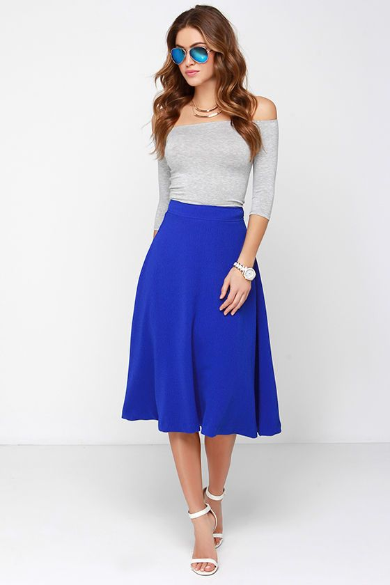 JOA Luxe Life Cobalt Blue Midi Skirt | Yellow blouse, Cobalt blue ...