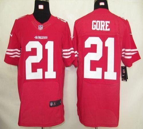 Nike 49ers  21 Frank Gore Red Team Color Mens NFL Elite Jersey ... 5f10ee86c