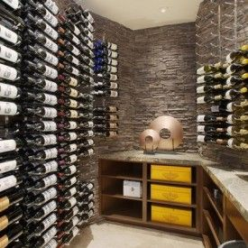 Wonderful Contemporary Wine Cellar Design Interior Decorated With Simple Racks Used Stone Wall Decor Striking Traditional Room