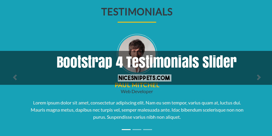 Bootstrap 4 Testimonials or People Review Slider