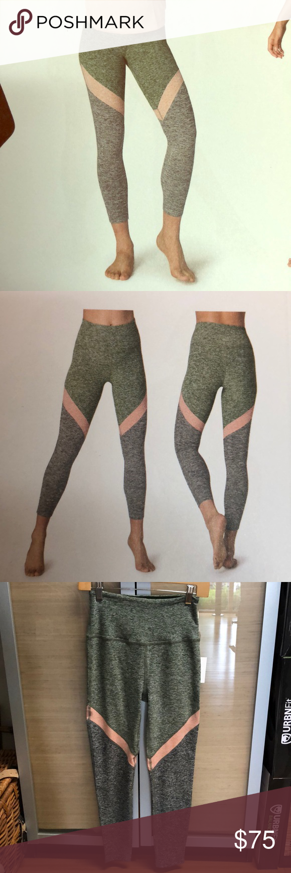 3981b9cb3953f Beyond Yoga Spacedye High Waisted Midi Legging Beyond Yoga Spacedye High  Waisted Midi Legging. Color/Print: Jungle Palm Tri-Panel (green, pink & grey  ...