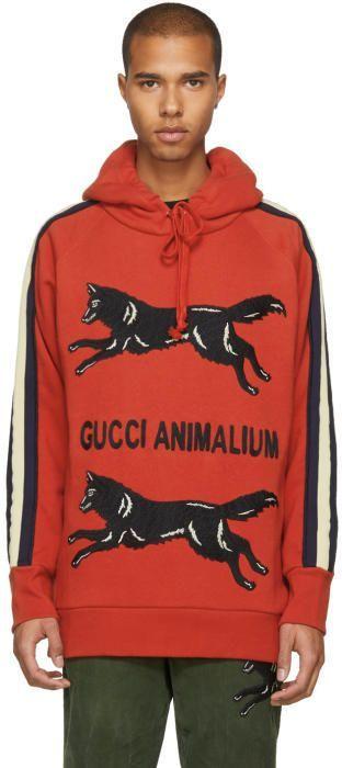 7da32354e3c Gucci Red Animalium Double Wolves Hoodie
