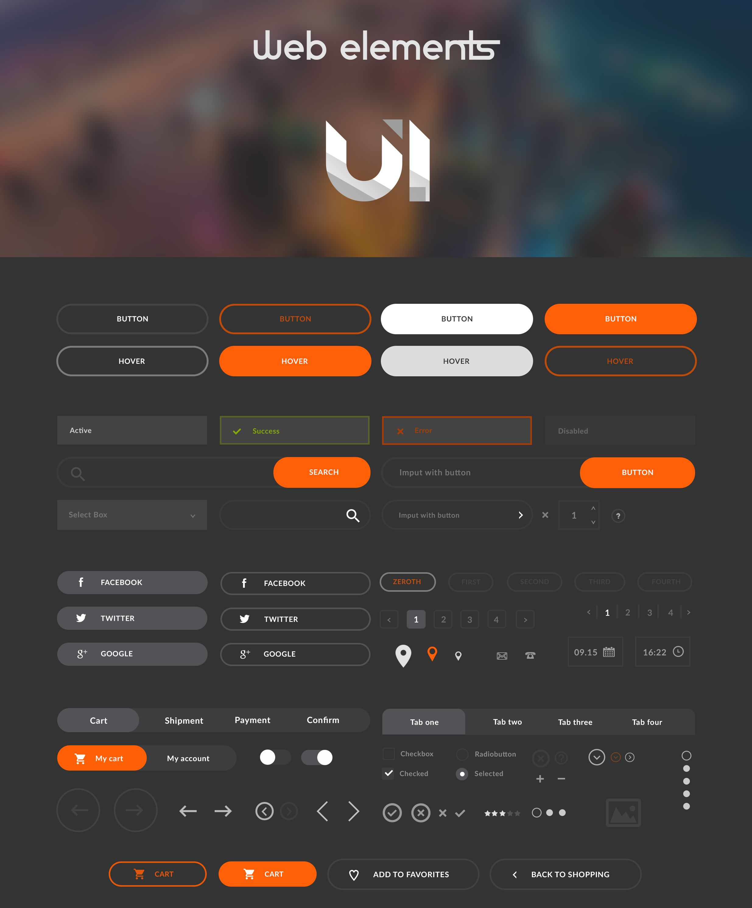 Free Flat Web Elements UI Kit | Freebies | Web ui design, Flat web