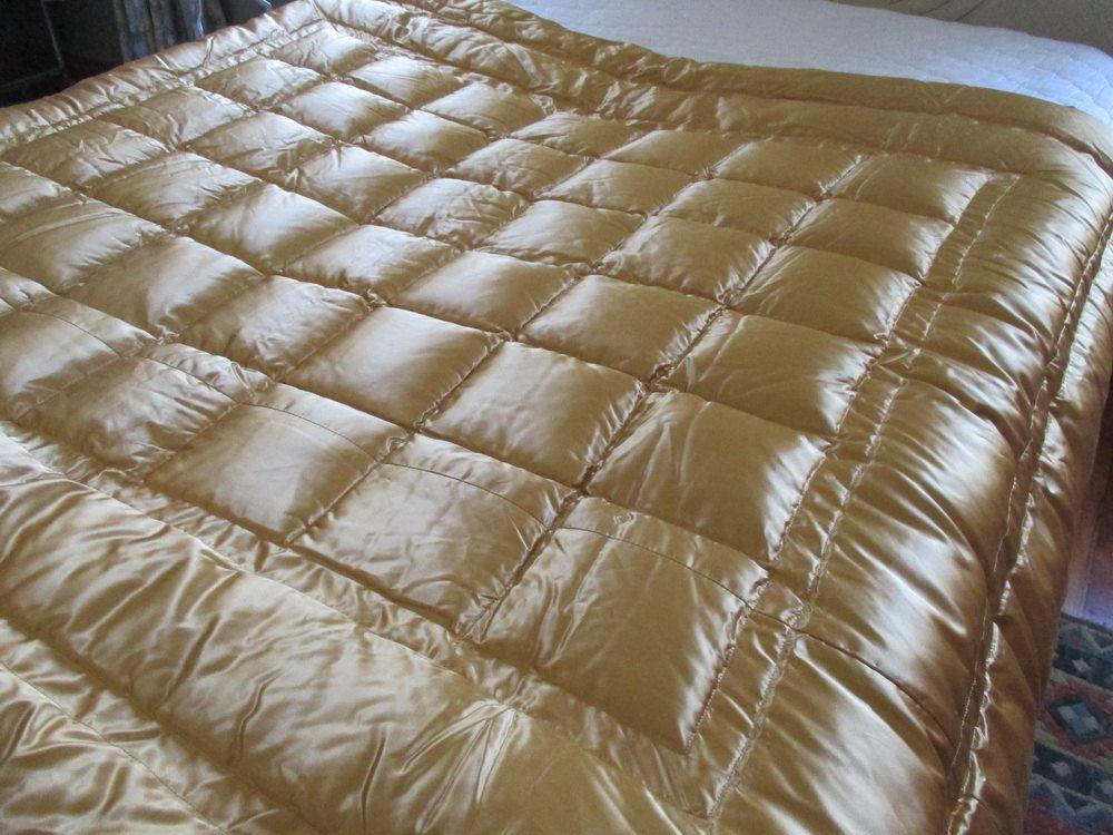 Gold Satin Eiderdown Comforter Duvet Never Used by UppNorthEh ... : old fashioned quilted eiderdowns - Adamdwight.com
