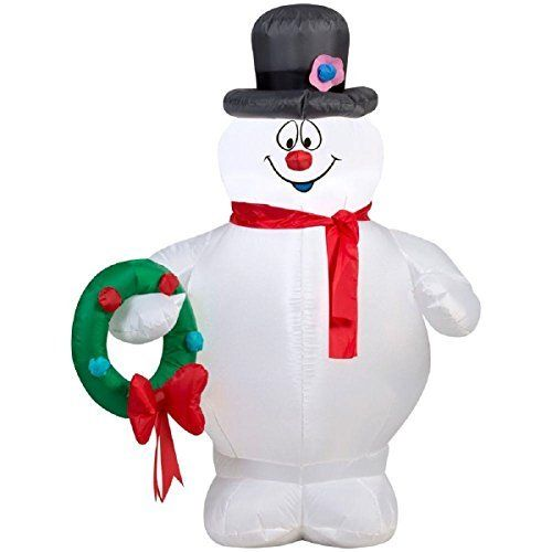 Christmas Inflatable 35\u0027 Frosty The Snowman Holding Wreath Airblown - christmas blow up decorations