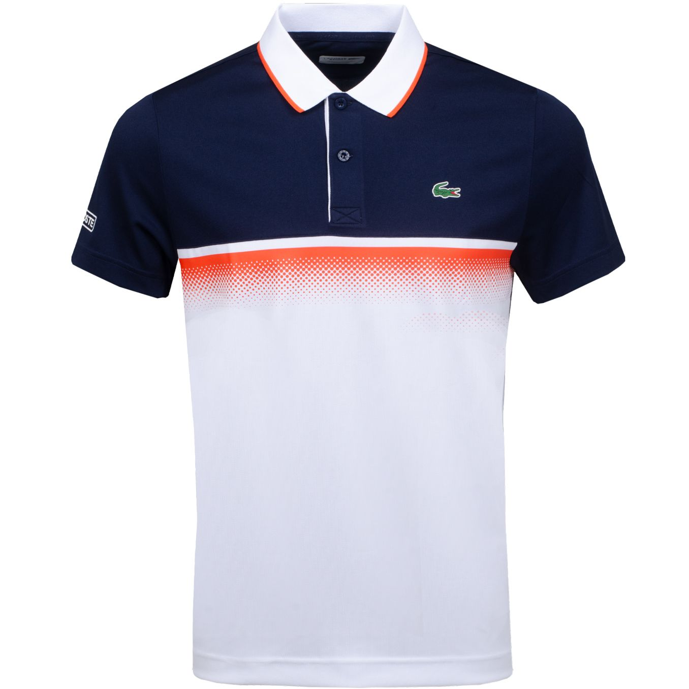 Lacoste Ultra Dry Block Stripe Polo Navy White Red Trendygolf Com Polo Shirt Design Lacoste Polo Shirts Lacoste