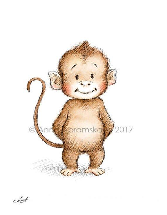 Bleistift und Aquarell Zeichnung des Affen Kinderzimmer Bild   Etsy