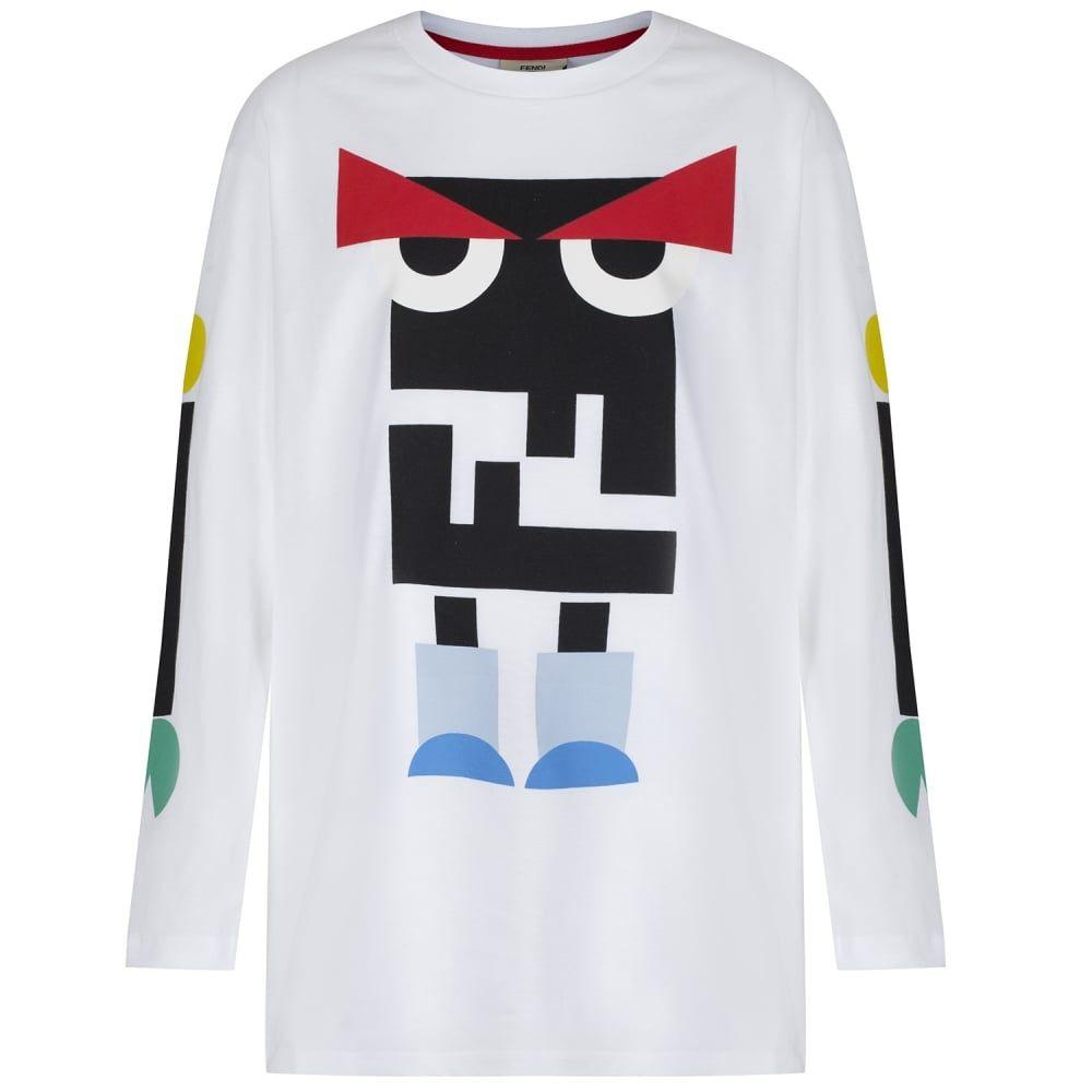 00605e580 Fendi Boys White Monster Robot Print T-Shirt   T shirt in 2019 ...