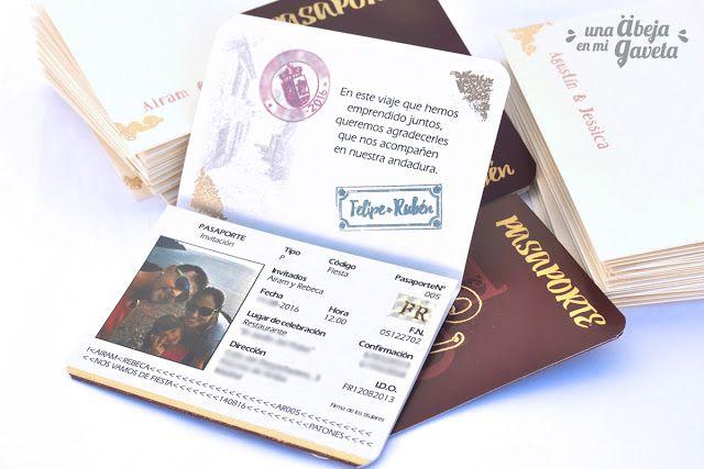 Una abeja en mi gaveta: Pasaporte para una boda 2 (invitaciones)