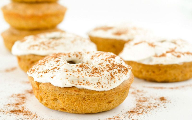 Pumpkin Spice Protein Donuts With Cream Cheese Frosting #proteindonuts