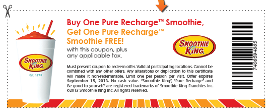 photo about Smoothie King Printable Coupon known as Pinned August 31st: Minute recharge smoothie cost-free at