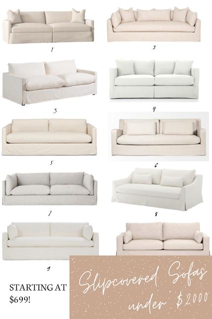 Gorgeous Slipcovered Sofas Under $2000