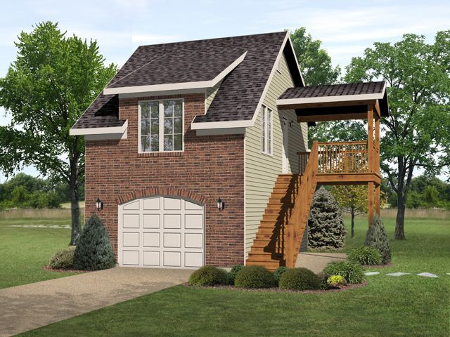 Unique one bedroom garage apartment over one car garage for Deck over garage plans